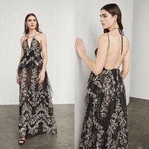 BCBGMaxAzria Leto Embroidered Floral Halter Gown